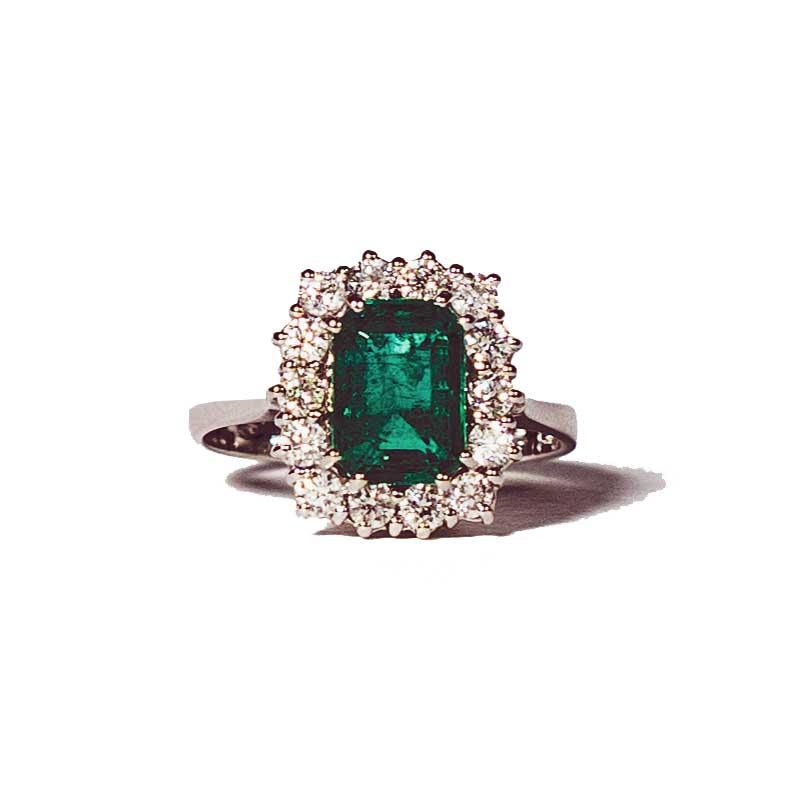 Anello solitario Smeraldo Oro Bianco E Diamanti